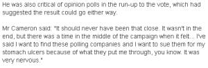 Cameron on IndyRef BBC